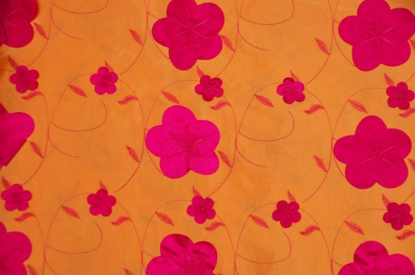 Applique Taffeta Tangerine Fuchsia
