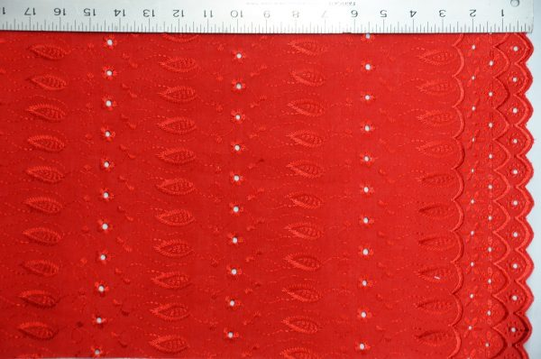 Cotton Eyelet Embroidery with Double Sided Border red