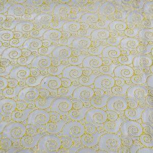Glitter Swirl Organza ivory gold